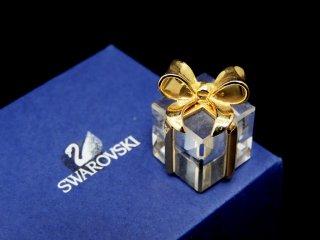 スワロフスキー SWAROVSKI ミニチュア プレゼントBOX クリスタルオブジェ 置き物 箱付き ●