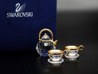 スワロフスキー SWAROVSKI ミニチュア ティーセット クリスタルオブジェ 置き物 箱付き ●