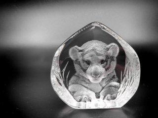 マッツ・ジョナサン Mats Jonasson クリスタル ペーパーウェイト オブジェ 子虎 Crystal Paper weight Sculpture Small tiger 置き物 北欧 ●