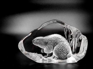 マッツ・ジョナサン Mats Jonasson クリスタル ペーパーウェイト オブジェ ビーバー Crystal Paper weight Sculpture Beaver 置き物 北欧 ●