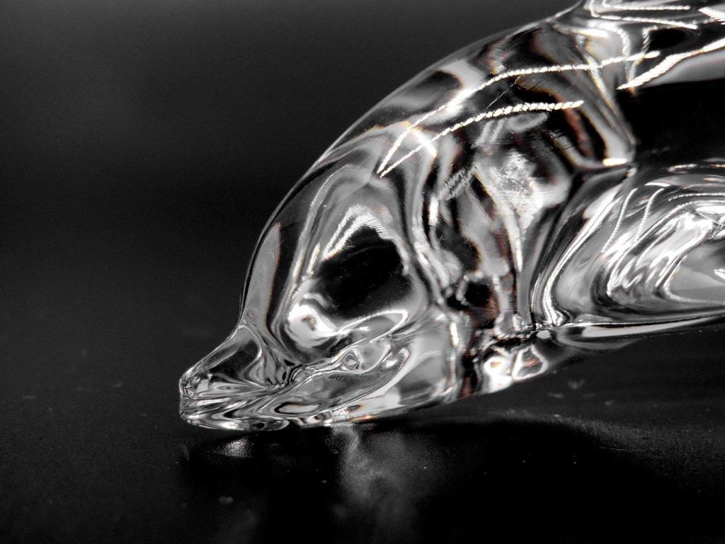 ドーム フランス Daum France クリスタル ドルフィン オブジェ Crystal Dolphin Sculpture クリア ●