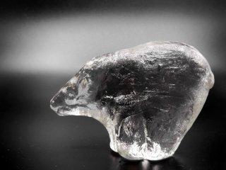 スウェーデン Sweden ガラス オブジェ シロクマ glass Sculpture Polar bear 置き物 ●