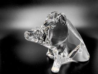 バカラ Baccarat 干支 クリスタル オブジェ イノシシ Crystal Sculpture boar 置き物 ●