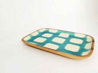 高畑伸也 一翠窯 ISSUI POTTERY やちむん 角皿 スクエアプレート 大 ブルー チェック柄 器 現代作家 A ●