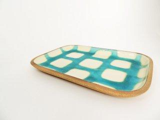 高畑伸也 一翠窯 ISSUI POTTERY やちむん 角皿 スクエアプレート 大 ブルー チェック柄 器 現代作家 B ●