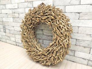 ハンドメイド 木製 リース 樹皮 カントリースタイル シャビーシック 大型 ●
