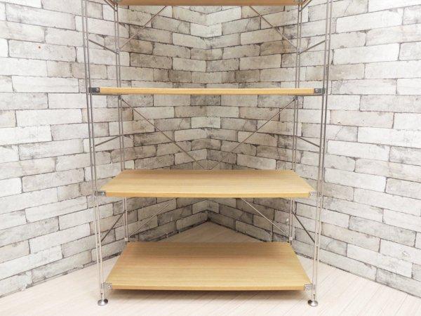 無印良品 MUJI タモ材 ステンレスユニットシェルフ 4段 スライドガラス付きボックス ナチュラル ●