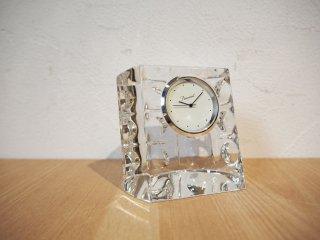バカラ Baccarat エキノックス Equinoxe スモールクロック クリアガラス 置時計 クォーツ式 フランス ★