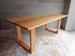 日進木工 ホワイトウッドシリーズ ダイニングテーブル W180 オーク×ブラックウォールナット ナチュラル ♪