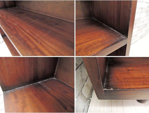 マホガニー材 ワイドオープンシェルフ 棚 ディスプレイラック W180cm  ●