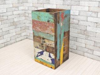 ボート古材 リメイク家具 木箱 ウッドボックス 工業系 インダストリアル ●