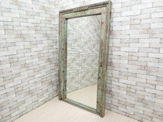オールドメゾン Old maison 木製 ペインテッド ミラー 全身鏡 インディアンビンテージ ●