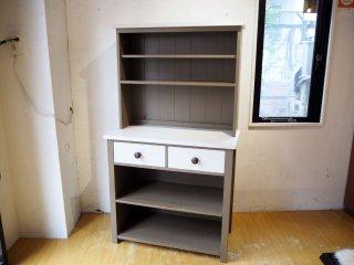 オリジナル家具 カップボード UK カントリースタイル ホワイト×グレーペイント ブックケース シェルフ ★