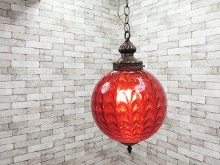USビンテージスタイル ガラスシェード ペンダントランプ 赤 照明 クラシカル ●