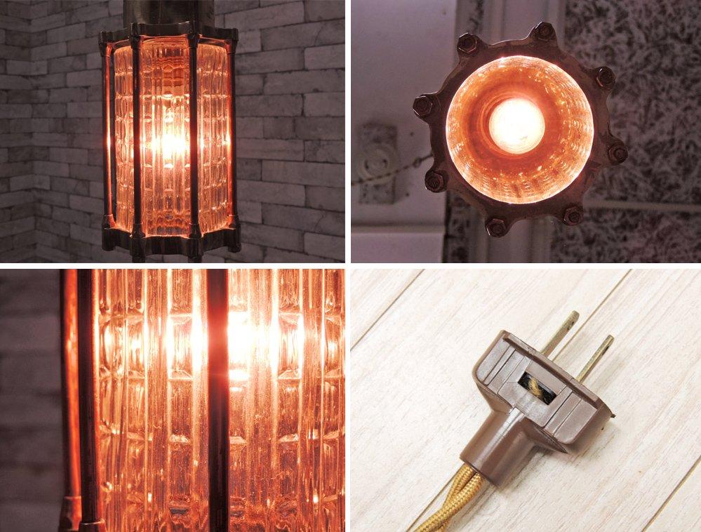 USビンテージ ガラス 真鍮フレーム ペンダントランプ アンティーク ランタン 照明 ●