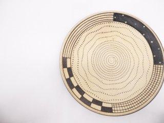 小石原焼 森喜窯 飛びカンナ 平皿 23.5cm ●