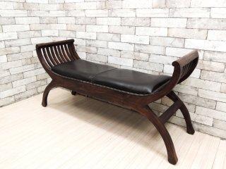 アジアン家具 カルティニチェア ベンチ 2人用 レザー × アジアンチーク ●