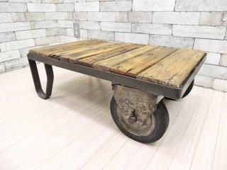 フランス ビンテージ インダストリアル トローリーテーブル 車輪付き サイドテーブル ファクトリーテーブル ●