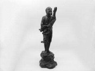 利光造 鉄拐仙人 鋳銅 置物 ブロンズ像 李鉄拐 約4900g 工芸品 旧家蔵出し●