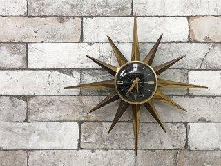セッションズ SESSIONS サンバーストクロック sunburst clock  掛け時計 ミッドセンチュリー USビンテージ ●