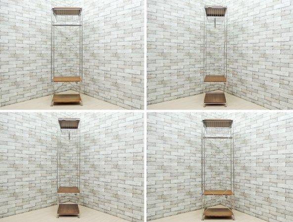無印良品 MUJI ステンレスユニットシェルフ ウォールナット棚 × ワードローブバー × ワイヤーバスケット W58cm ●