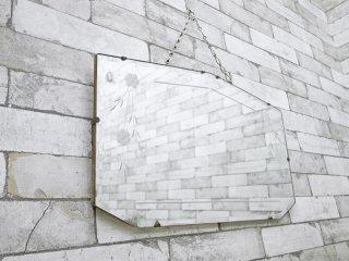 UKアンティーク レリーフ ウォールミラー 7角形 西洋家具 ●