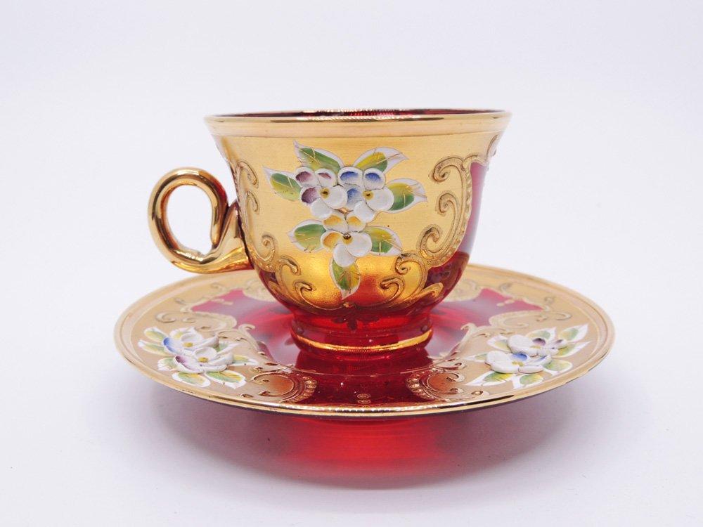 ベネチアングラス Venetian glass A.salvadoni カップ&ソーサー C&S ●