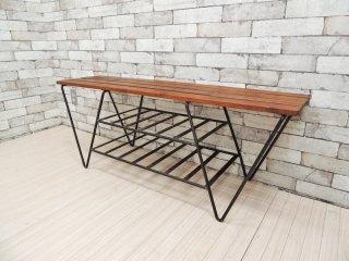 ビンテージ vintage ウッド × アイアン シェルフ ベンチ 木味 インダストリアル 古家具 ●