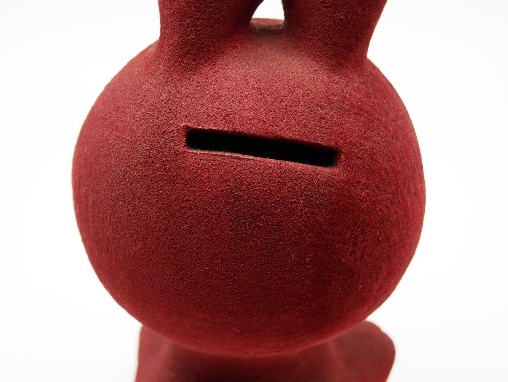 フジカ FUJIKA ウサギの貯金箱 陶製 フロッキー加工 昭和レトロ 雑貨 ●