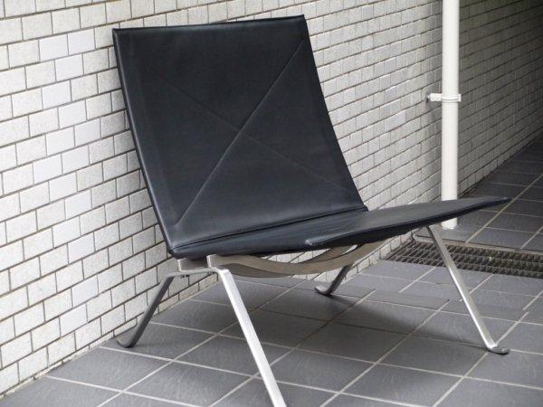 フリッツハンセン FRITZ HANSEN PK22 イージーチェア ラウンジチェア レザー ブラック ポール・ケアホルム 北欧家具 名作椅子 定価¥610,500- ■