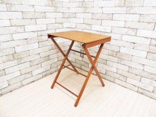 ビンテージスタイル フォールディングミニテーブル サイドテーブル 古家具 ●