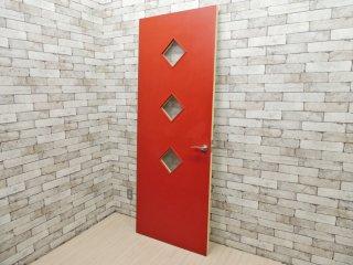 ポストモダンデザイン ドア 木製 クロス張り レッド×オフホワイト  ●