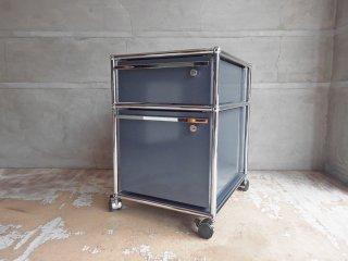 ユーエスエムハラー USM Haller モジュラーファニチャー Modular Furniture ハラーシステム ロールボーイ ワゴン デスクキャビネット アントラサイト 鍵付き A ♪