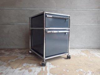 ユーエスエムハラー USM Haller モジュラーファニチャー Modular Furniture ハラーシステム ロールボーイ ワゴン デスクキャビネット アントラサイト 鍵付き B ♪