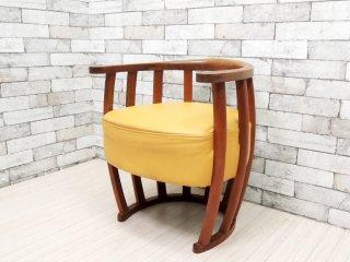BC工房 こぶりチャウチャウ椅子 ラウンジチェア チーク無垢材 本革 クリーム色 ●