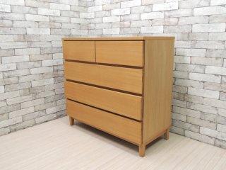 無印良品 MUJI 木製チェスト 4段 タモ材 無垢材 ナチュラル 現状品 ●