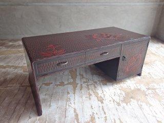 鎌倉彫 座机 ローテーブル 引き出し付き 漆塗り 牡丹 民芸家具 ♪