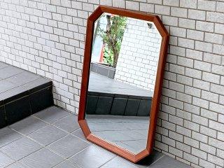 チーク無垢材 ビンテージ ウォールミラー 八角形 ■