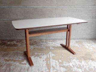 カリモク60+ karimoku カフェテーブル1200 ホワイト メラミン天板 棚板付き ミッドセンチュリーモダン ♪