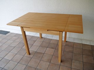 無印良品 MUJI タモ材 ダイニングテーブル 伸長式 W80〜130cm エクステンションテーブル EX  ナチュラル 廃番 ◇