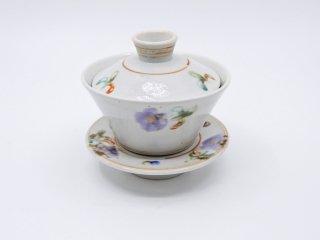 伊藤聡信 色絵 蓋付碗 茶碗 現代作家 A ●