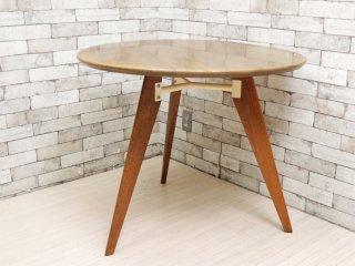 サザビー SAZABY 購入 ラウンド カフェテーブル オーク材 ダイニングテーブル ミッドセンチュリー ●