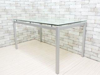 インザルーム in The ROOM ガラス × スチール脚 ダイニングテーブル モダンデザイン ●