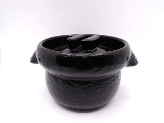 信楽焼 雲井窯 黒楽 御飯鍋 土鍋 3合炊き  ●