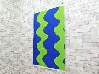 マリメッコ marimekko ロッキ LOKKI グリーン× ブルー ビンテージ ファブリック 生地 98×144cm マイヤ・イソラ 北欧雑貨 ●
