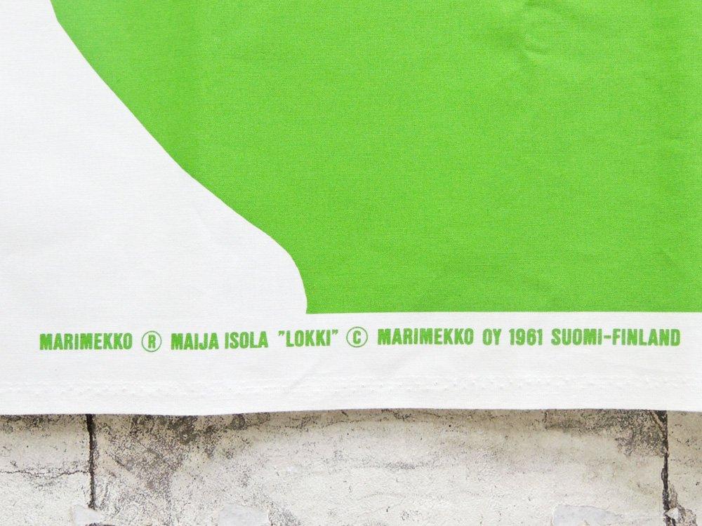 マリメッコ marimekko ロッキ LOKKI ホワイト×グリーン ビンテージ ファブリック 生地 115×144cm マイヤ・イソラ 北欧雑貨 ●