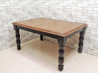 アジアン家具 Asian Furniture ダイニングテーブル エクステンション 伸長式 マレーシア クラシカルデザイン ●