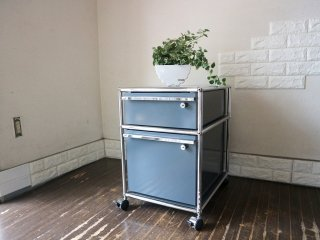 ユーエスエムハラー USM Haller モジュラーファニチャー Modular Furniture ハラーシステム ロールボーイ ワゴン デスクキャビネット アントラサイト 鍵付き B ◎