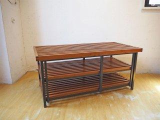 ウッド×アイアンフレーム ラティスデザイン Lattice design AVボード ベンチ センターテーブル iron×wood ★