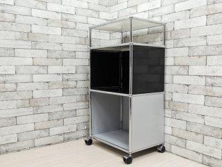 ユーエスエムハラー USM Haller モジュラーファニチャー Modular Furniture ハラーシステム 1×3 シェルフ キャスター付き ホワイト×ブラック×マットシルバー ●
